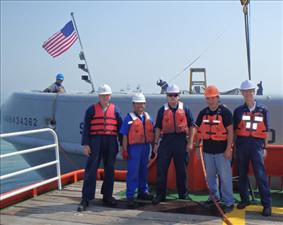 AMO members aboard the USNS Fast Tempo aided in the recovery of the South Korean ferry Sewol, which capsized in April.The crew included Third Assistant Engineer Chris Gilman, Wiper Braulio Ente, Kings Point Deck Cadet Mike Zarycki, Second Mate Chris Kali and Third Mate Joe Newhouse.
