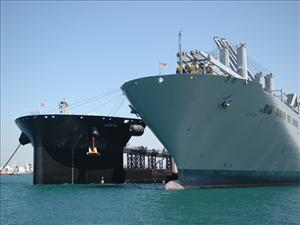 During a series of at-sea operations conducted near Long Beach, Calif. in June, the Navy's first mobile landing platform, <i>USNS Montford Point</i> (MLP 1), was moored alongside the LMSR <i>USNS Bob Hope</i>. The MLP's vehicle transfer ramp was deployed, attached to the LMSR, and then recovered, demonstrating the capabilities of the vehicle transfer ramp and the vessel's ability to perform skin-to-skin operations. The <i>USNS Montford Point</i> is operated for MSC by Ocean Ships, Inc. The <i>USNS Bob Hope</i> is operated for MSC by General Dynamics American Overseas Marine Corp. Both ships are manned in all licensed positions by AMO and in all unlicensed positions by the SIU.