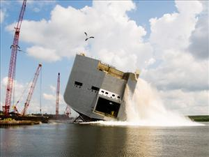 Pasha Hawaii's new 692-foot <i>M/V Marjorie C</i> was launched Saturday, Aug. 9 at VT Halter Marine's shipyard in Pascagoula, Miss. The <i>Marjorie C</i> is set to enter the U.S. mainland-Hawaii trade lane later this year. The new combination container/roll-on/roll-off (ConRo) vessel will sail opposite the <i>M/V Jean Anne</i> and enable Pasha Hawaii to bring weekly service to Hawaii. Like the <i>Jean Anne</i>, the <i>Marjorie C</i> will be operated by TOTE Services, Inc. and manned in all licensed positions by American Maritime Officers. Photo by Ray Broussard