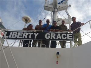 AMO officers working aboard the <i>Liberty Grace</i> during the rescue included (in no particular order) Captain Michael Tolley, Second Mate Ted Duke, Third Mate Jeff Pearce, Chief Engineer Matthew Shea, First Assistant Engineer Daniel Capozello and Third A.E. Frank Bocage. Not in the picture are Chief Mate James Hook and Second A.E. Vladimir Davidochkin.