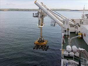 The <i>C.S. Resolute</i> deploys its QT-800 remotely operated vehicle off County Cork, in Courtmacsherry Bay, Ireland. Photo courtesy of Captain Eric Clark
