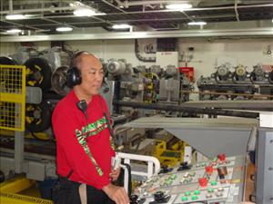 AMO members working aboard the <i>C.S. Resolute</i> in August included Second Assistant Engineer Larry Pascua. Photo courtesy of Chief Engineer Steve Miller
