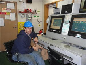 AMO members working aboard the <i>C.S. Resolute</i> in August included Third A.E. Kristopher Smith. Photo courtesy of Chief Engineer Steve Miller
