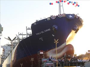 The christening and launch ceremony for TOTE's <i>Perla del Caribe</i> gets underway at the General Dynamics NASSCO shipyard in San Diego, Calif. on August 29. The natural gas powered Marlin Class containership, manned in all licensed positions by American Maritime Officers, will operate in the Jones Act trade lane between Puerto Rico and the continental U.S.