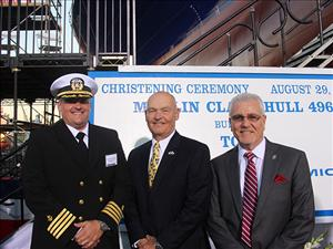 American Maritime Officers member Captain Raymond Thompson greets Rear Adm. Mark Buzby (U.S. Navy, retired), former commander of Military Sealift Command, and AMO National Executive Vice President Robert Kiefer at the christening and launch ceremony for <i>Perla del Caribe</i>.