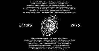 American Maritime Officers memorial service for crew of <i>El Faro</i>