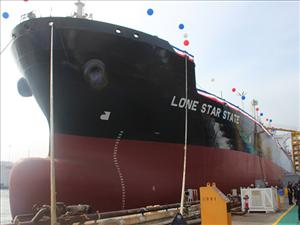 The <i>Lone Star State</i>, the first ship in a series of five being built for Kinder Morgan Inc. subsidiary American Petroleum Tankers at General Dynamics NASSCO, was christened October 17 in San Diego, Calif.