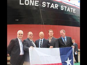Participating in the christening ceremony for the <i>Lone Star State</i> were American Maritime Officers members Captain Robert Cates and Chief Engineers Thomas Balzano and Michael Homan. With them are AMO National Executive Vice President Bob Kiefer and AMO National Vice President, Inland Waters, Dave Weathers.