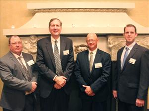 AMO members Captain Robert Cates and Chief Engineers Thomas Balzano and Michael Homan were honored guests at the sponsor's dinner for the christening of the <i>Lone Star State</i>. With them is Robert Kurz, vice president of Kinder Morgan Terminals and president of American Petroleum Tankers, a Kinder Morgan, Inc. subsidiary.