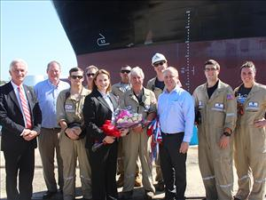 Participating in the christening ceremony for the <i>Ohio</i> were (in no particular order) American Maritime Officers National President Paul Doell, National Vice President, Inland Waters, Dave Weathers, Captain Daniel Loewer, Chief Mate James Cunningham, Second Mate Patrick Dowhan, Third Mate Cassandra Palma, Third Mate Jon Agliata, Chief Engineer Don Routly, Third Assistant Engineer Keith Nelson, Crowley President and CEO Tom Crowley Jr., and the ship's sponsor, Pamela Beall.