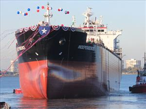 On Saturday, December 12, General Dynamics NASSCO launched the <i>Independence</i>, the first ship in a series of three ECO Class tankers being built for the SEA-Vista fleet. The Jones Act tankers will be manned in all licensed positions by American Maritime Officers.