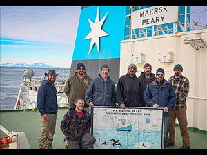 Members of American Maritime Officers working aboard the <i>Maersk Peary</i> during Operation Deep Freeze 2016 included Chief Officer Joshua Squyres, Third Assistant Engineer John Erb, Third Mate Joseph Conlon, Chief Engineer Cedric Harkins, Second Mate Barett Howell, Second A.E. James Bradley, Captain David Perron and First A.E. James Cook. Four AMO members - Joshua Squyres, James Bradley, John Erb, and Joseph Conlon - were first-time recipients of the Antarctica Service Medal awarded by the Department of Defense in recognition of valuable contributions to exploration and scientific achievement under the United States Antarctic Program. Photo: Captain David Perron