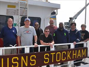 American Maritime Officers members working aboard the USNS Stockham during Freedom Banner 2016 included Captain Paul Ginnane, Chief Engineer Rick Powers, Third Mate Rafael Vega, Third Assistant Engineer Robert Rocanelli, First A.E. Douglas Crews, Third A.E. Milton Ballard, Third Mate Michael McCarthy and Second A.E. Richard Campleman. Photo courtesy of Captain Paul Ginnane
