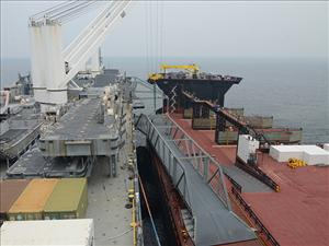 POHANG, South Korea - Maritime Prepositioning Force ship <i>USNS GYSGT Fred W. Stockham</i> (T-AK 3017) and Expeditionary Transfer Dock <i>USNS Montford Point</i> (T-ESD 1) perform a skin-to-skin maneuver March 13. The maneuver is conducted by two ships connecting side-by-side at sea. In this instance, the <i>USNS Montford Point</i> acted as a floating pier for a simulated offload. U.S. Navy photo by Mass Communication Specialist 3rd Class Madailein Abbott