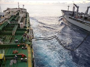 The tanker <i>Maersk Peary</i> conducted consolidation (CONSOL) training at full speed with Military Sealift Command underway replenishment oiler <i>USNS Rappahannock</i> on March 25 in the South Pacific. The <i>Maersk Peary</i> is operated under MSC charter by Maersk Line, Limited and is manned in all licensed positions by American Maritime Officers. Photo courtesy of <i>Maersk Peary</i>