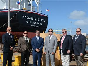 Attending the christening of the <i>Magnolia State</i> April 23 at the General Dynamics NASSCO shipyard in San Diego, Calif. were (left to right) Chief Engineer Thomas Balzano; David Cawley, Crowley Petroleum Services, director, engineering - tankers; Chief Mate Bob Wirtanen; Chief Engineer Dan Picciolo; AMO National Executive Vice President Danny Shea; and Captain Robert Cates.
