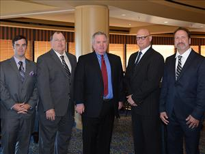 AMO members attending the sponsor's dinner for <i>Magnolia State</i> April 22 in San Diego, Calif. included Chief Mate Bob Wirtanen, Captain Robert Cates, AMO National Executive Vice President Danny Shea, Chief Engineer Thomas Balzano and Chief Engineer Dan Picciolo.