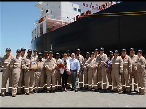 The officers and crew of the <i>Louisiana</i> join the ship's sponsor, Carrie Templin, and Crowley Chairman and CEO Tom Crowley in celebrating the christening of the <i>Louisiana</i>.