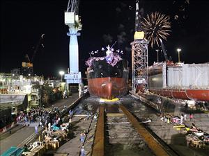 The Jones Act tanker <i>Garden State</i>, the third in a series of five ECO Class tankers being built for American Petroleum Tankers, was christened and launched May 7 at the General Dynamics NASSCO shipyard in San Diego, Calif. American Maritime Officers represents all licensed officers aboard the <i>Garden State</i>.
