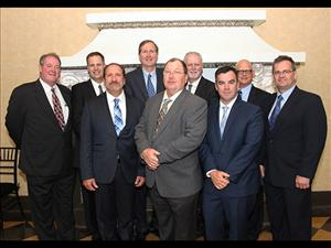 AMO members attending the sponsor's dinner for the <i>Garden State</i> May 6 in San Diego, Calif. included AMO National Vice President, Inland Waters, Dave Weathers; Chief Engineer Dan Picciolo; Captain Robert Cates; Chief Mate Bob Wirtanen; Captain William Barrere; and Chief Engineer Thomas Balzano. With them are American Petroleum Tankers Vice President of Operations Scott Clapham; APT President Robert Kurz; and APT Vice President Philip Doherty.