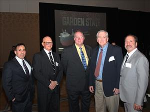 Attending the christening and launch of the <i>Garden State</i> on May 7 were David Cawley, Crowley director, engineering - tankers - petroleum services; Chief Engineer Thomas Balzano; AMO Vice President, Inland Waters, Dave Weathers; Chief Engineer Fred Bails; and Chief Engineer Dan Picciolo.