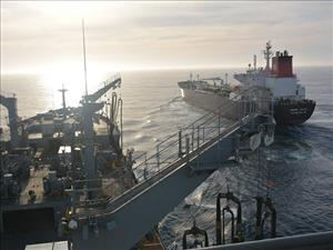 The crew of the <i>Empire State</i> successfully pumped over 10,000 gallons of fuel to replenish the <i>USNS Yukon</i> while underway off the coast of San Diego in April without incident. AMO represents all licensed officers on the <i>Empire State</i>. Photo: Military Sealift Command