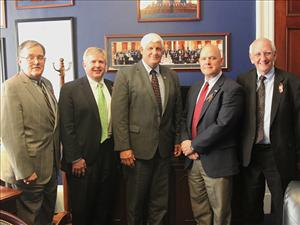 A Sail-In team including American Maritime Officers Legislative Consultant John Rothrock  (second from left) met with Congressman Robert Gibbs (R-OH) on June 14. Also on the Sail-In team were Maritime Trades Department, AFL-CIO, Executive Secretary-Treasurer Dan Duncan; Christopher Barber with American Roll-on Roll-off Carrier; and Executive Director of the Dredging Contractors of America Barry Holliday.