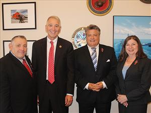 A Sail-In team led by American Maritime Officers Service Legislative Consultant Brenda Otterson met with Louisiana Republican Congressman Ralph Abraham (second from left) on June 14. Also participating in the meeting were Robert Milan, owner of Milan Metals and Maritime Repairs, and Maersk Line, Limited Vice President, Labor Relations, Ed Hanley.