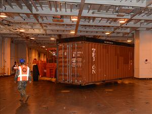 The <i>USNS Brittin</i> delivered 150 containers of relief cargo for JLOTS 2016 and Cascadia Rising, transferring the boxes to military lightering barges for transport to the shore. The exercises assumed that port facilities in Tacoma were damaged or destroyed during earthquakes, aftershocks and a tsunami resulting from a rupture of the Cascadia Subduction Zone.