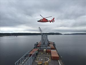 The Navy and U.S. Coast Guard performed a medical evacuation exercise during JLOTS, in which a service member onboard the <i>USNS Bob Hope</i> with a simulated compound fracture was airlifted to a military medical facility for treatment. Photo courtesy of Captain Robert Silva