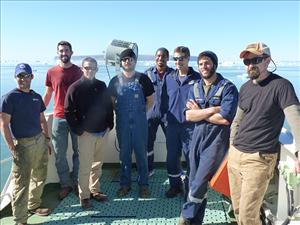 American Maritime Officers members working aboard the <i>Maersk Peary</i> during Operation Pacer Goose 2016 included Chief Mate Joshua Squyres, Third Mate Antoine Picou, Captain David Perron, Third Assistant Engineer Loren Andersen, Second Mate Barett Howell, Chief Engineer Cedric Harkins, Second A.E. Benjamin White and First A.E. James Cook. Photo courtesy of Captain David Perron