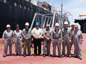 AMO members working aboard the <i>USNS Montford Point</i> in July during the S2S operations included (left to right) Captain Michael Sands, First Assistant Engineer Michael Long, Second A.E. Brian Pahlke, Electronics Officer John Bouton, Chief Mate Joshua Jordan, Third A.E. Christopher Beaton, Third A.E. Robert Mussler, Second Mate Robert Sandner and Third Mate Gene Brown. Not in the picture are Chief Engineer Joseph Gelhaus, Second A.E. Walter Yagen and Third Mate Frederick Goodin.