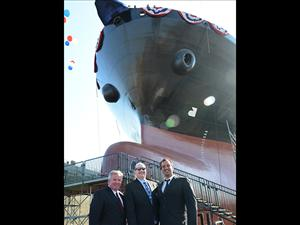 American Maritime Officers National Executive Vice President Danny Shea greets Captain Greg Wallace and Chief Engineer Eric Ketteringham at the General Dynamics NASSCO shipyard in San Diego, Calif.