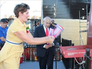 Cristin Thorogood christens the tanker <i>Constitution</i>. Photo: General Dynamics NASSCO
