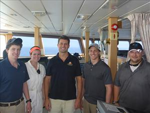Working aboard <i>C.S. Dependable</i> during the rescue were Third Mate John Locks, Third Mate Allison Lashmet, Captain Yann Durieux, Third Mate Michael Squillacote and Chief Mate Tristan Schulz.