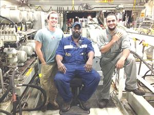 Working aboard <i>C.S. Dependable</i> during the rescue were Third Assistant Engineer Matthew Pastuszak, Third A.E. Gregory Thomas and OMU Kasim Ahmed.