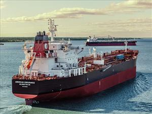 The Jones Act tanker <i>American Endurance</i> was christened November 16 at Philly Shipyard and was delivered on November 30.  The ship is operated for American Petroleum Tankers by Intrepid Personnel and Provisioning and is manned in all licensed positions by American Maritime Officers. Photos: Philly Shipyard, Inc.