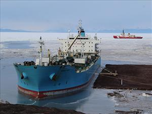 The tanker <i>Maersk Peary</i>, operated under Military Sealift Command charter by Maersk Line, Limited and manned in all licensed positions by American Maritime Officers, this month delivered 100 percent of the fuel needed for the operation of McMurdo Station in Antarctica as part of Operation Deep Freeze 2017. Operation Deep Freeze is a joint service resupply mission to Antarctica in support of the National Science Foundation, the lead organization for Antarctic research. Military Sealift Command vessels have participated in every mission since the operation's inception in 1955. Photo courtesy of <i>Maersk Peary</i>