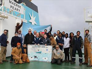 Members of American Maritime Officers working aboard the <i>Maersk Peary</i> during Operation Deep Freeze 2017 included Captain Everett Hatton, Chief Mate Joshua Squyres, Second Mate Barett Howell, Third Mates Antoine Picou and Brooke English, Chief Engineer Garrett Long, First Assistant Engineer James Cook, Second A.E. Benjamin White and Third A.E. Loren Andersen. Photo courtesy of <i>Maersk Peary</i>