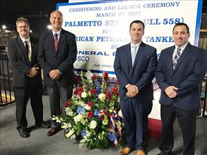 AMO members attending the christening and launch of the <i>Palmetto State</i> included Captain Robert Wirtanen (second from right). With him are (from left) AMO West Coast Representative Willie Barrere; Boren Chambers, Crowley Petroleum Services, director, marine operations; and David Cawley, Crowley Petroleum Services, director, engineering – tankers.