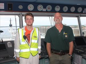 AMO members working aboard the <i>M/V Liberty</i> in June included Third Mate Spencer Greene and Second Mate James Chedister.