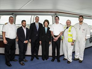 U.S. Secretary of Transportation Elaine Chao toured the <i>M/V Liberty</i> at the Port of Charleston.  With her here are Captain Kenneth DeGroff, Captain Alex Ramirez, ARC President & CEO Eric Ebeling, Chief Engineer William Keillor, First Assistant Engineer Robert Ring and Third Assistant Engineer Sean Rullis.