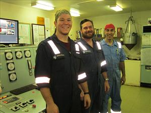 AMO members working aboard <i>M/T Maersk Michigan</i> in February included Third Assistant Engineer Marijan Strk, Chief Engineer Raymond Halsted and First A. E. Marc Salerno.