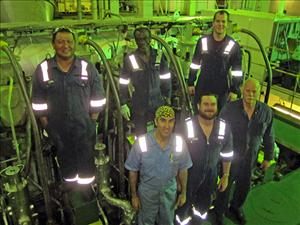 AMO members in the Engineering Department of the <i>M/T Maersk Michigan</i> in February included Third Assistant Engineer Marijan Strk, First A.E. Marc Salerno, Chief Engineer Raymond Halsted and Second A.E. Theodore Elmendorf. With them are SIU QMED Walden Galacgac and QMED Lateef Sanusi.