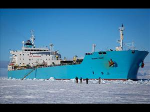 The <i>Maersk Peary</i> waits outside of McMurdo Harbor on February 1 to deliver nearly 100 percent of the fuel to the station for the year. Over the next five days, the tanker delivered nearly five million gallons of diesel fuel and 500,000 gallons of aviation fuel.