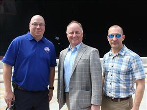 AMO Captains Kenneth DeGroff and Kyle DeCampeau greet Crowley Chairman and CEO Tom Crowley at the <i>M/V Taíno</i> christening.