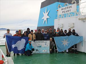 Members of American Maritime Officers working aboard the <i>Maersk Peary</i> during Operation Deep Freeze 2020 included Captain Everett Hatton, Chief Officer Karen Laycock, Second Officer John Watkins, Third Officer Laura McCormack, Third Officer Arron Lamb, Chief Engineer James Cook, First Assistant Engineer Benjamin White, Second A.E. Justin Lovely and Third A.E. Alexander Ruddy. <i>The Maersk Peary</i> is one of three MSC-chartered ships that will deliver supplies fuel needed at McMurdo Station.